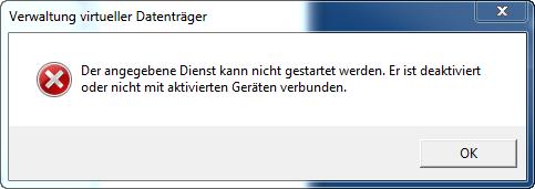 Windows 7 - Fehlermeldung - Verwaltung virtueller Datenträger